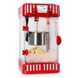 Klarstein Volcano Popcornmaschine Popcorn Maker (300 Watt Rührwerk, Edelstahl-Topf, Innenbeleuchtung, ca. 60 l/h) rot-weiß -