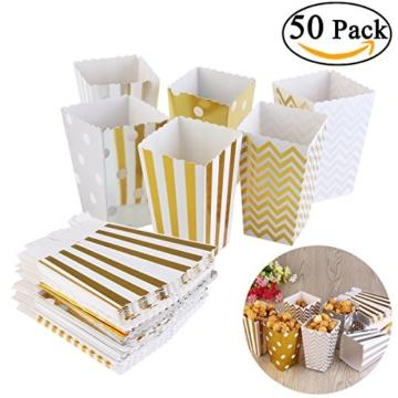 NUOLUX 50 Stück Popcorn-Boxen, Pappe Party Candy Container,Zufällige Farbe,12*7 CM -